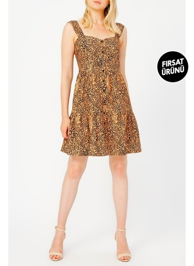 Random Önden Düğmeli Kalın Askılı Desenli Elbise Leopar